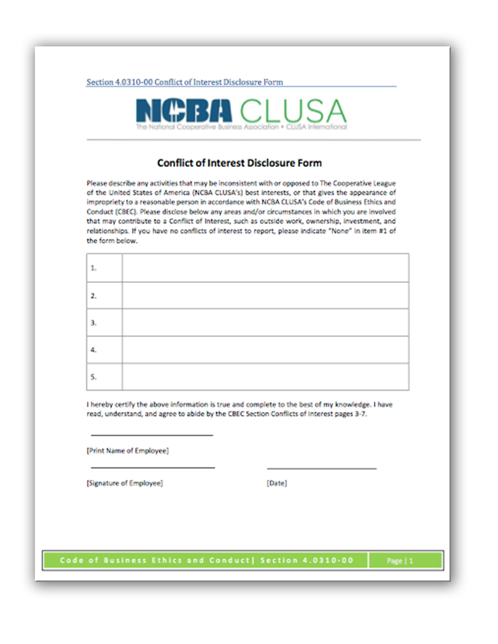Conflict of Interest Disclosure Form - Code of Ethics | NCBA