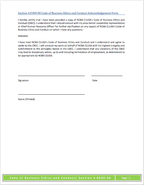 Code of Business Ethics & Conduct Acknowledgement Form | NCBA
