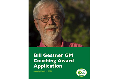 """Photo of Bill Gessner is pictured with the words, """"Bill Gessner GM Coaching Award Application"""" and NCG's logo."""
