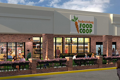 An artist's rendition of Fredericksburg Food Co-op featuring a brick storefront and outdoor patio for community members to gather.