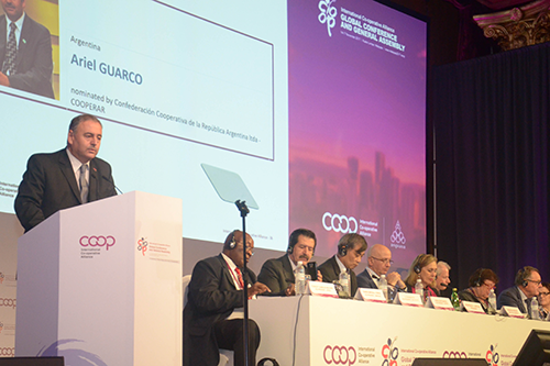 Ariel Guarco addresses the General Assembly after his election as president of the International Co-operative Alliance. [photo courtesy ICA]