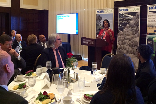 Nisha Patel, Executive Director of the US Partnership on Mobility from Poverty, speaks at NCBA CLUSA's Board of Directors Luncheon Wednesday.