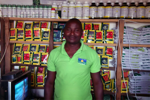 Helder Jorge in his store in Ribaué, Mozambique. As an agro-dealer with NCBA CLUSA's SEEDS project, he has more than tripled his total sales.