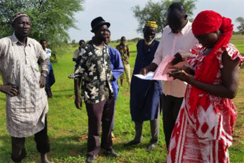 A digital mapping tool called MAST helps surveyors like Fatimata Ouédraogo collect data about farm land and natural resources quickly and on site. [photo: ONF-BF]