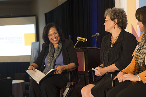 Lisa Mensah, left, moderates a panel that included Annie Donovan, Director of the U.S. Department of Treasury's Community Development Financial Institution (CDFI) Fund.