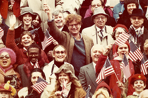Judy Ziewacz and Rick Merrill, left and center, in the crowd at President Ronald Reagan's inauguration in January 1981.